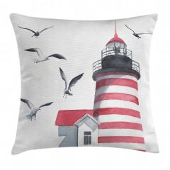 Deniz Feneri ve Kuş Yastık Kırlent Kılıfı