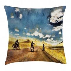 Motosiklet ve Yol Yastık Kırlent Kılıfı