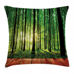 Ormandaki Ahşap Yol Yastık Kırlent Kılıfı