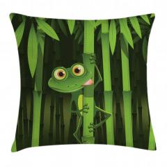 Bambu ve Kurbağa Yastık Kırlent Kılıfı