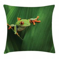 Yeşil Bitki ve Kurbağa Yastık Kırlent Kılıfı