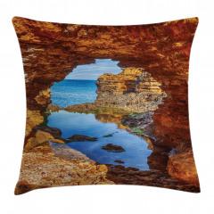 Kayalık Sahil ve Deniz Yastık Kırlent Kılıfı