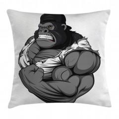 Goril Desenli Yastık Kırlent Kılıfı