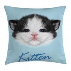 Yavru Kedicik Desenli Yastık Kırlent Kılıfı