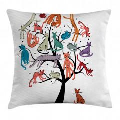 Ağaçta Renkli Kediler Yastık Kırlent Kılıfı