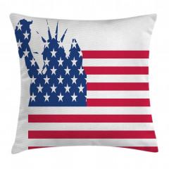 ABD Bayrağı Desenli Yastık Kırlent Kılıfı