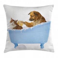 Kedi Köpek Dostluğu Yastık Kırlent Kılıfı