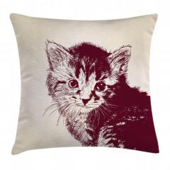 Sevimli Tüylü Kedi Yastık Kırlent Kılıfı
