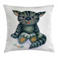 Sevimli Kedi Desenli Yastık Kırlent Kılıfı