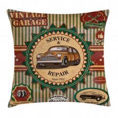 Nostaljik Araba Desenli Yastık Kırlent Kılıfı