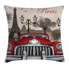 Paris ve Kırmızı Araba Yastık Kırlent Kılıfı