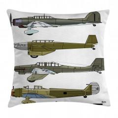Eski Savaş Uçakları Yastık Kırlent Kılıfı