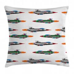 Renkli Savaş Uçakları Yastık Kırlent Kılıfı