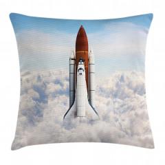 Uzay Mekiği Desenli Yastık Kırlent Kılıfı