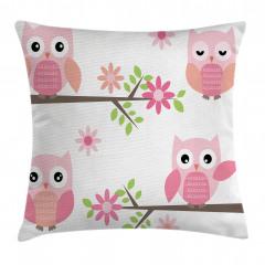 Baykuş ve Çiçek Desenli Yastık Kırlent Kılıfı