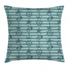 Mavi Denizcilik Desenli Yastık Kırlent Kılıfı