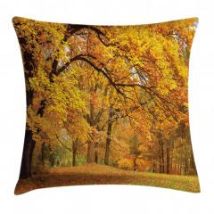 Turuncu Yapraklı Ağaç Yastık Kırlent Kılıfı
