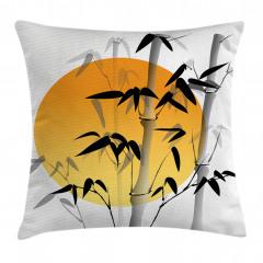 Güneş ve Bambu Desenli Yastık Kırlent Kılıfı