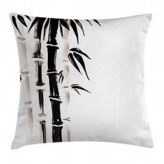 Siyah Beyaz Bambu Yastık Kırlent Kılıfı