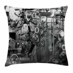 Fabrika Temalı Yastık Kırlent Kılıfı