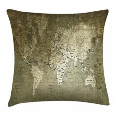 Dünya Haritası Temalı Yastık Kırlent Kılıfı
