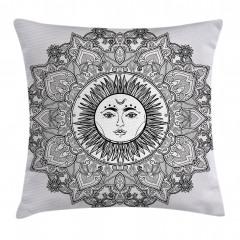 Güneş Tanrısı Desenli Yastık Kırlent Kılıfı
