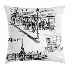 Paris Caddeleri Yastık Kırlent Kılıfı