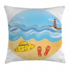 Deniz Feneri ve Kumsal Yastık Kırlent Kılıfı
