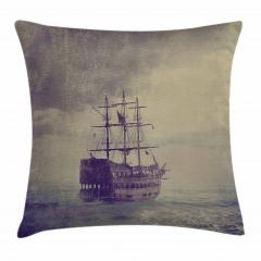Korsan Gemisi Desenli Yastık Kırlent Kılıfı