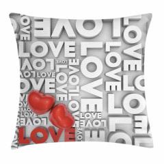 Romantik Kırmızı Kalp Yastık Kırlent Kılıfı