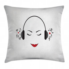 Müzik Dinleyen Kız Yastık Kırlent Kılıfı