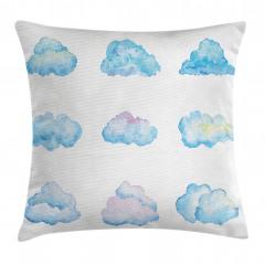 Bulut Desenli Yastık Kırlent Kılıfı