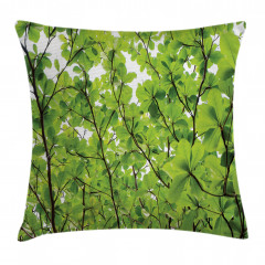 Yeşil Yapraklı Ağaç Yastık Kırlent Kılıfı
