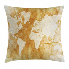 Dünya Haritası Pusula Yastık Kırlent Kılıfı