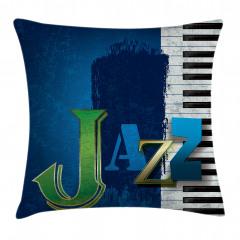 Mavi Caz ve Piyano Yastık Kırlent Kılıfı