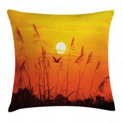 Güneş Sazlık ve Kuşlar Yastık Kırlent Kılıfı