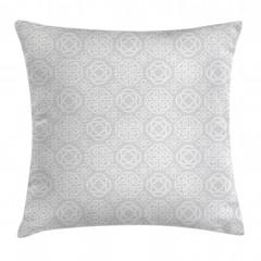 Beyaz Geometrik Desenli Yastık Kırlent Kılıfı