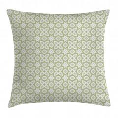 Yeşil ve Gri Geometrik Yastık Kırlent Kılıfı