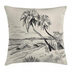 Deniz ve Palmiye Yastık Kırlent Kılıfı