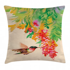 Kuş ve Çiçek Desenli Yastık Kırlent Kılıfı