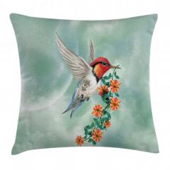 Çiçek ve Kuş Desenli Yastık Kırlent Kılıfı