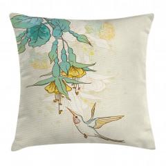 Yeşil Çiçek ve Kuş Yastık Kırlent Kılıfı