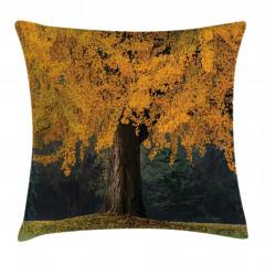 Sararmış Yapraklı Ağaç Yastık Kırlent Kılıfı