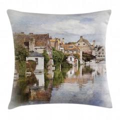 Brugge Kanalı Yastık Kırlent Kılıfı
