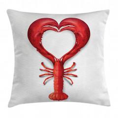 Kırmızı Kalp Desenli Yastık Kırlent Kılıfı