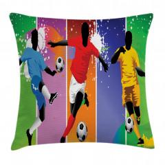 Rengarenk Futbolcu Yastık Kırlent Kılıfı