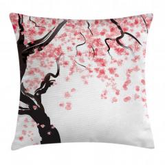 Pembe Çiçekli Ağaç Yastık Kırlent Kılıfı