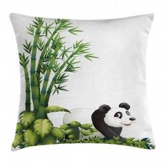 Sevimli Panda ve Bambu Yastık Kırlent Kılıfı