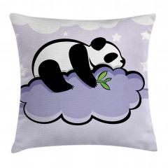 Bulut Üstündeki Panda Yastık Kırlent Kılıfı