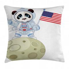 Astronot Panda Desenli Yastık Kırlent Kılıfı